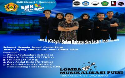 SMKN 1 Kuningan Juara 2 Lomba Musikalisasi Puisi (GBBSI) tingkat SLTA se-Jawa Barat