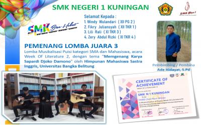 SMKN 1 Kuningan Raih Lomba Juara 3 Bidang Musikalisasi Puisi